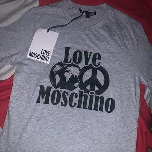 Love Moschino world peace tee small gray men New